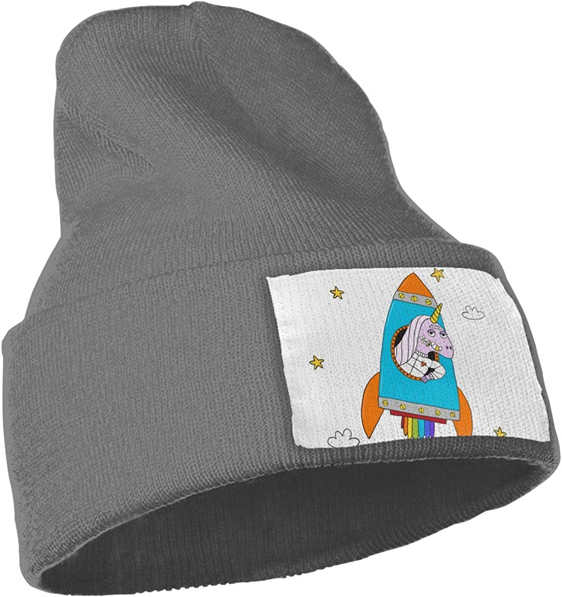 Unicorn Flies in A Rocket Into Space Unisex Fashion Knitted Hat Luxury Hip-Hop Cap