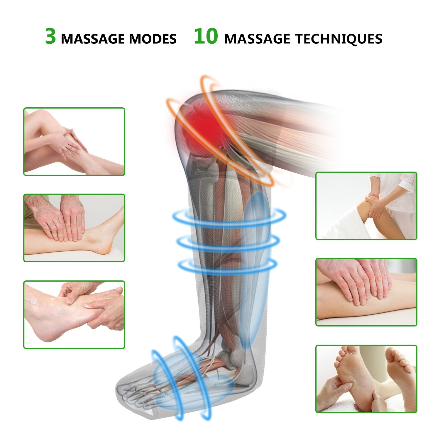 FIT KING Leg & Foot Air Massager and Knee Warmer for Foot Calf and Knee Circulation Massage with Size Extensions and 3 Modes 3 Intensities by FIT KING (Image #4)