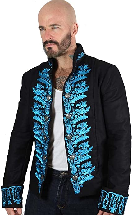 herren viktorianischer frack morgenkleid jacke top blau stp7