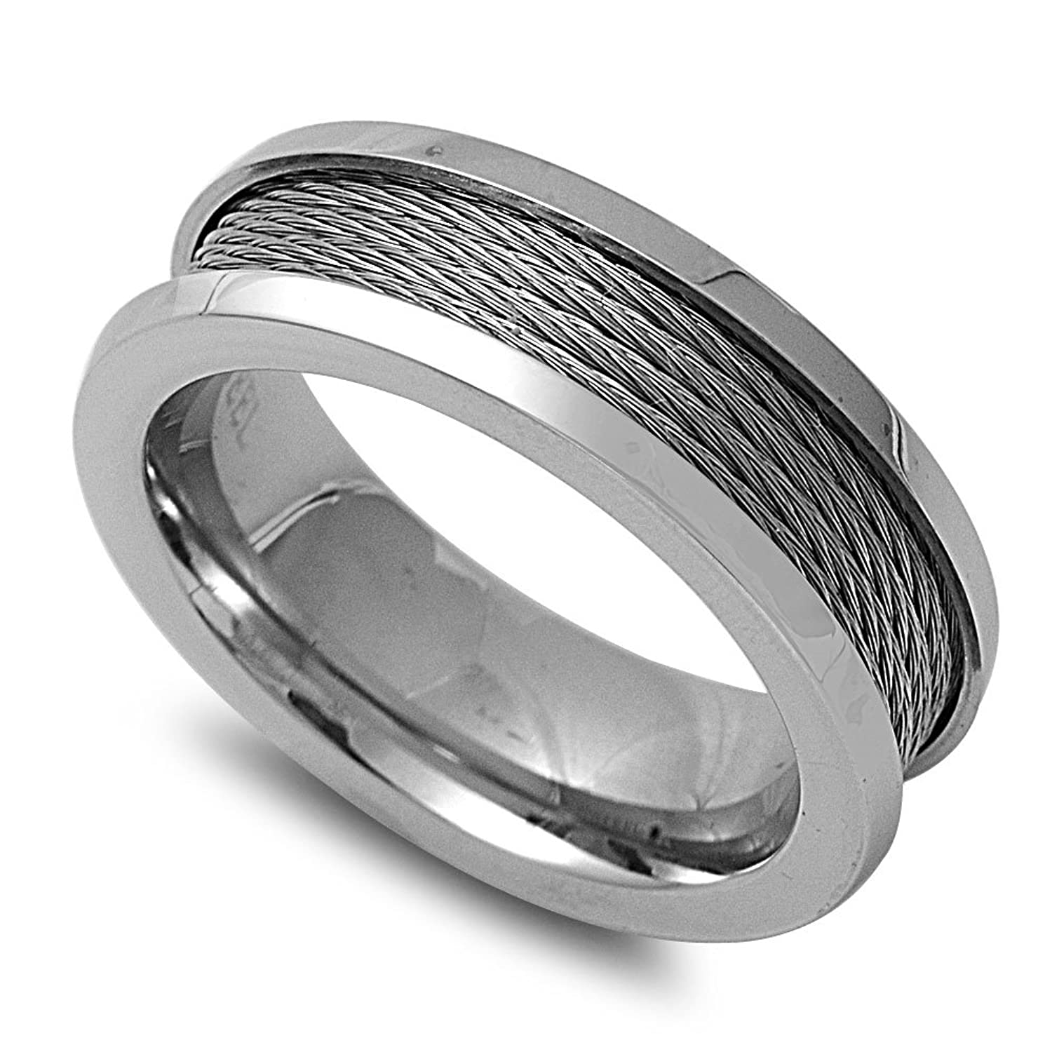 Stainless Steel Rope Weave Band Men's Ring