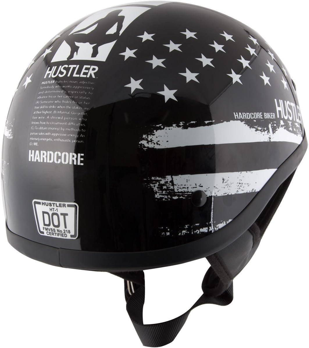 Hustler DOT HT-1 Black and White Mono Hustler Flag Glossy Skull Cap Helmet 2X-Large