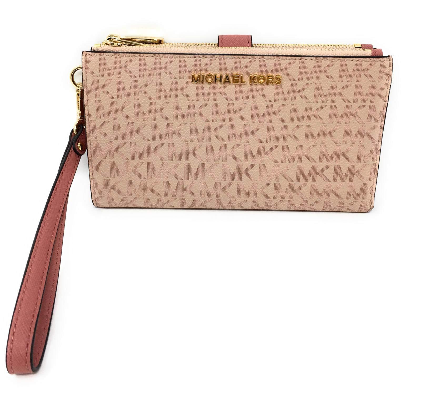 Michael Kors Jet Set Travel Double Zip Saffiano Leather Wristlet Wallet (Ballet PVC/Pink)