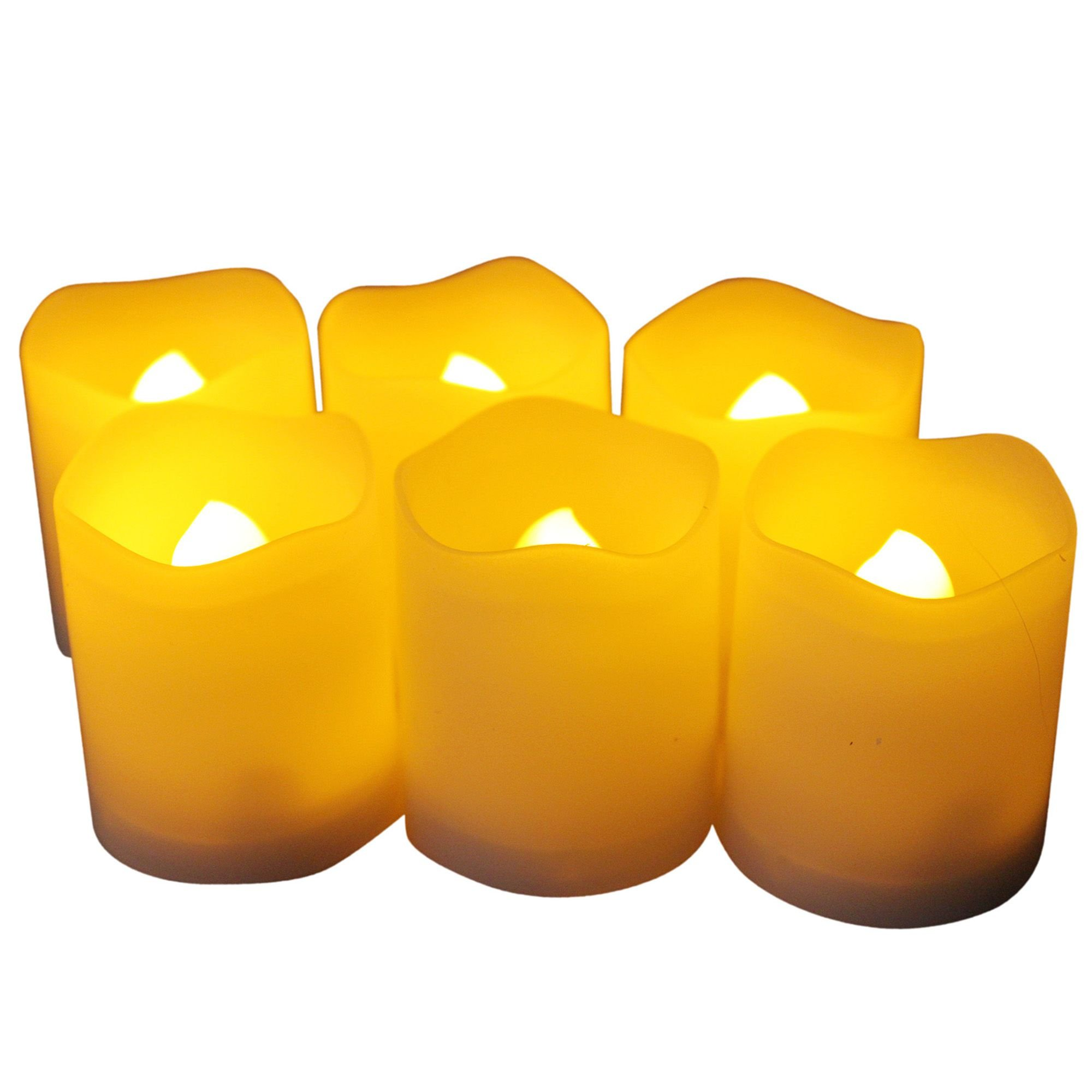 EcoGecko 87111 Indoor/Outdoor Votive Flameless LED Candles with Timer 400-hour Battery Life, Set of 6, 1.38'' x 1.38'' x 1.75''