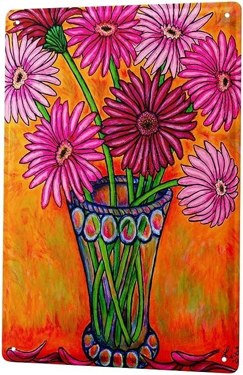 Blechschild Küche Blumenvase