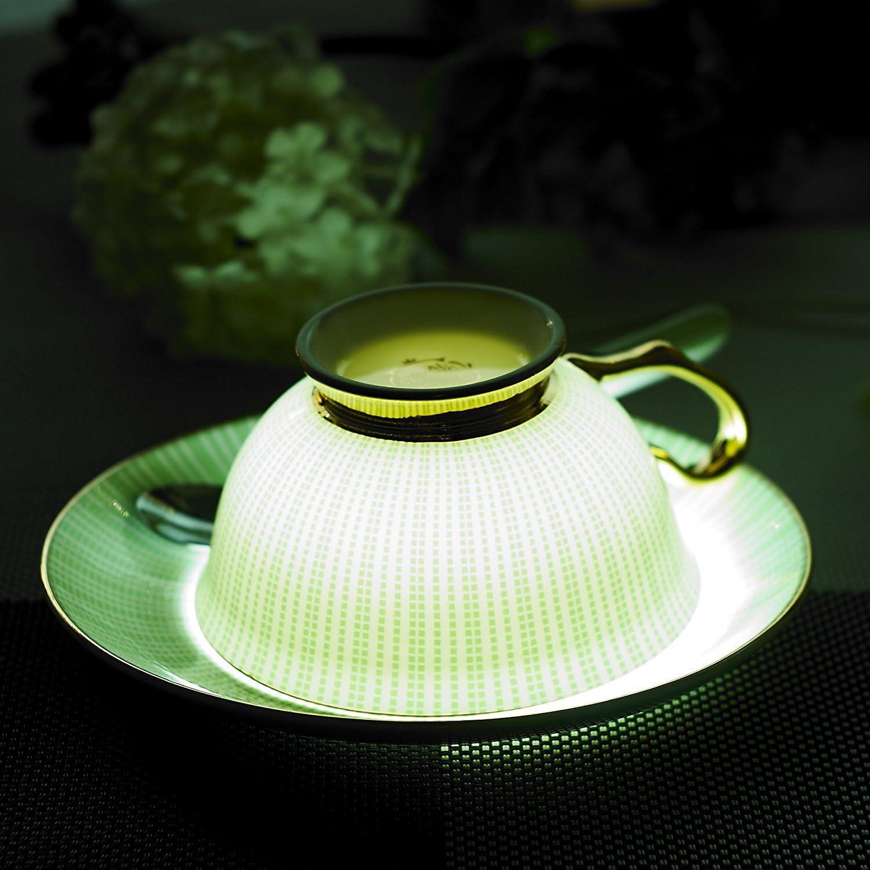Set of 1 with gift box Golden Rosa Porcelana de ceniza de hueso Taza de porcelana china para t/é y caf/é con plato y cuchara