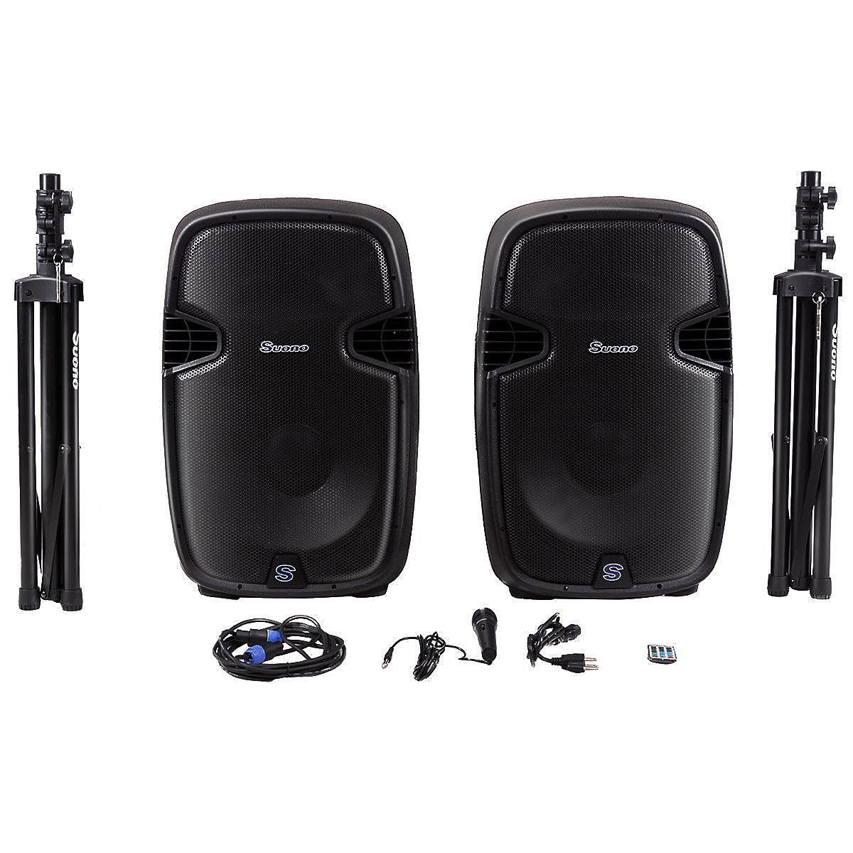 Costway Dual 12 Inch 2-way 2000Watts Powered Speakers with Bluetooth, Mic, Speaker Stands, Control & Cables 22602-CYPE