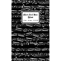 Blank Sheet Music Notebook: Black Music Notes cover, 10 stave staff paper, 100 pages, 5.5x8.5 inch Music Manuscript Paper Musicians, Small approx A5 Music Notebook for writing music notation