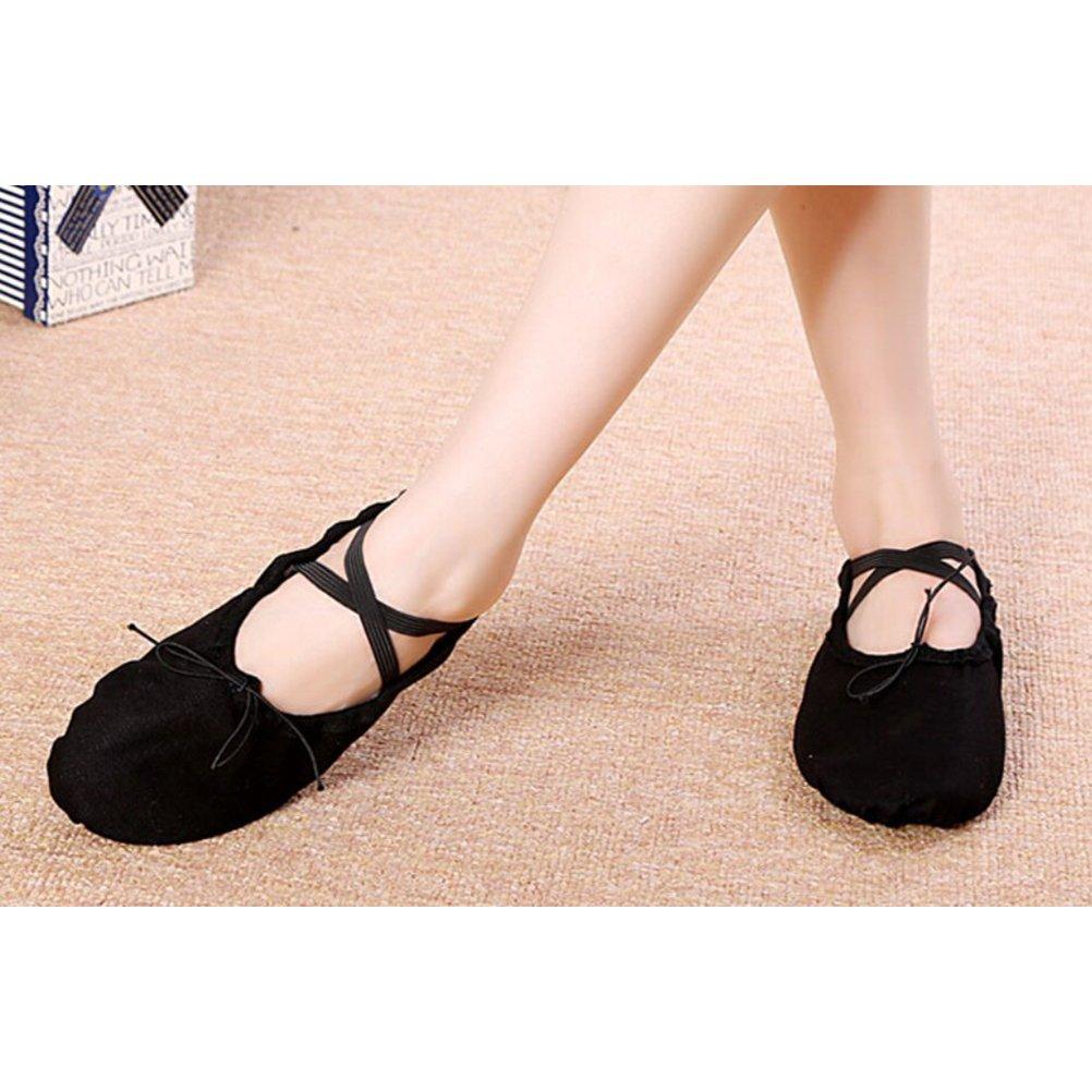 BESPORTBLE Zapatillas de Ballet para ni/ñas ni/ños Zapatillas cl/ásicas de Lona con Suela Dividida Zapatillas de Yoga Pisos Tama/ño 26 Negro