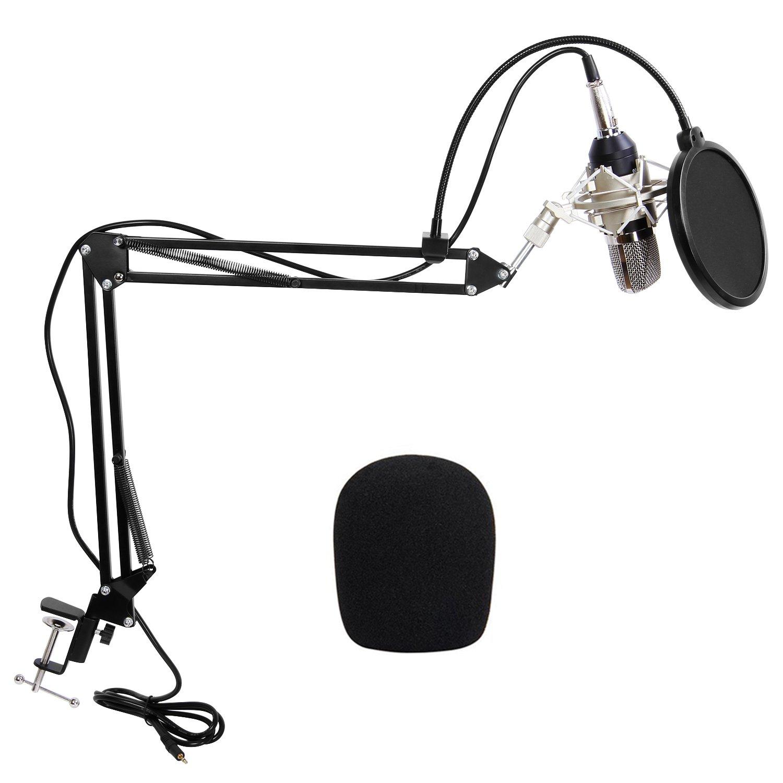 TONOR XRL mm Micrófono Condensador de Grabación para PCPodcast Estudio con Soporte