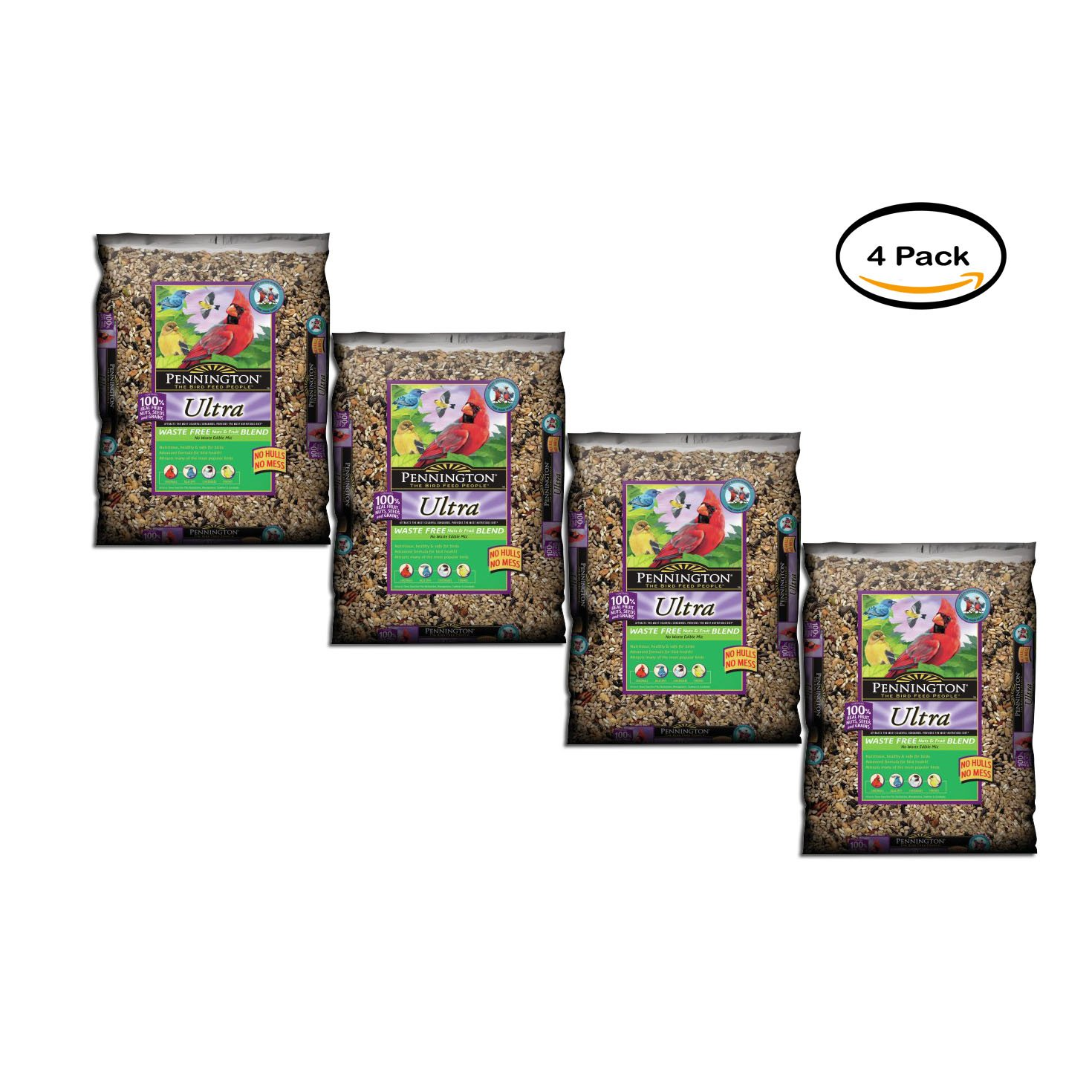 PACK OF 4 - Pennington Wild Bird Feed and Seed Ultra Nuts and Fruit Waste Free, 6.0 LB