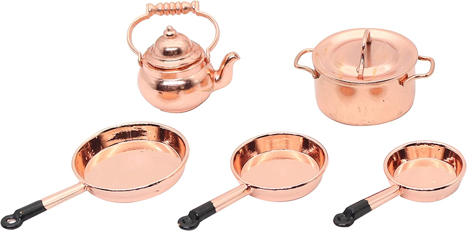 Hiawbon 1/12 Scale Doll House Miniatures Metal Frying Pans, Kettle, Copper Pots with Lids for Dollhouse Kitchen Accessories Christmas Birthday Gift,5 Pcs/Set