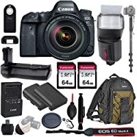 "Canon EOS 6D Mark II Wi-Fi DSLR Camera Body with EF 24-105mmF3.5-5.6 IS STM Lens - Pro Battery Grip, TTL Flash, Canon Pro Backpack, 128GB Memory, LP-E6N Replacement Battery, 72"" Monopod, RC-6 Wireless"