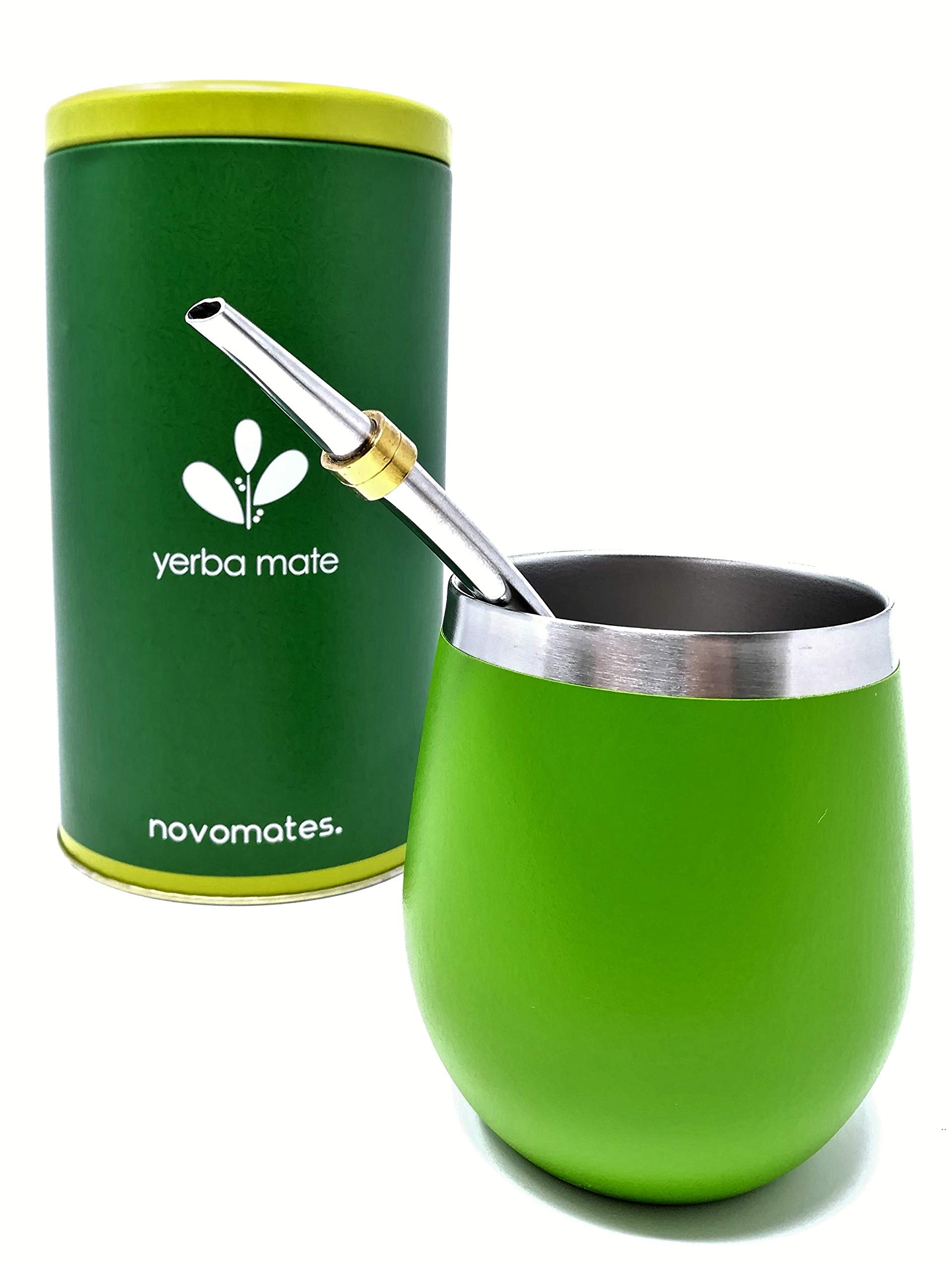 Novomates Yerba Mate Gourd - Best Yerba Mate Set - Includes Double Wall Stainless Steel Yerba Mate Cup With Stainless Steel Mate Bombilla Straw and Yerba Container – Gourd 8oz (237ml)