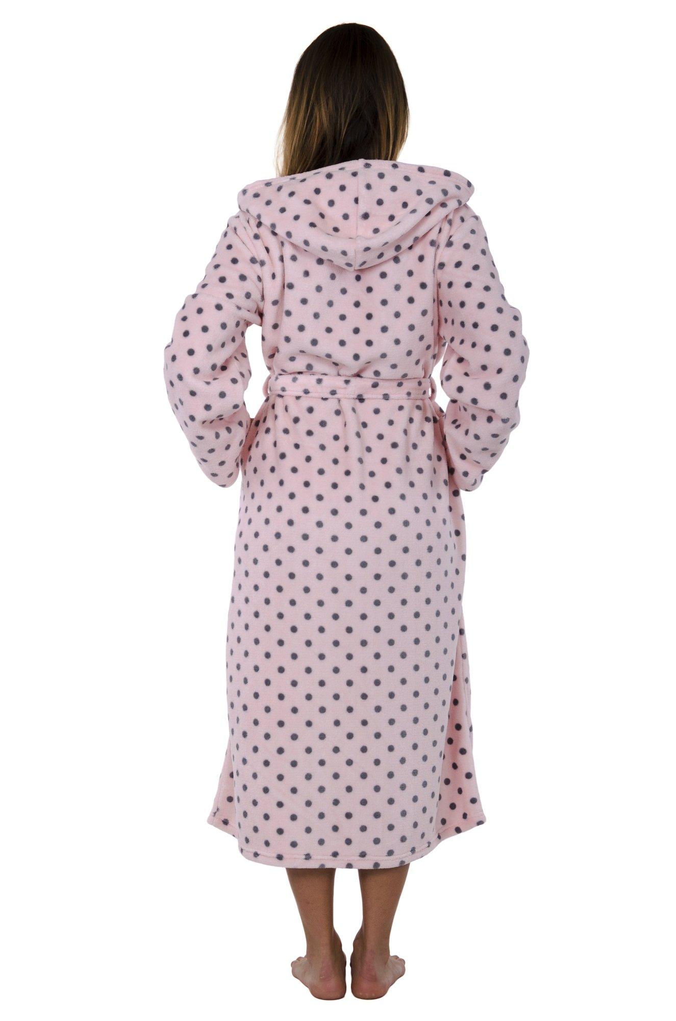 Hoodie Robe Hooded Robe Spa Bathrobe Hoody Robe Long Robe … (Large, Pink Polka Dot) by Love This Robe (Image #4)