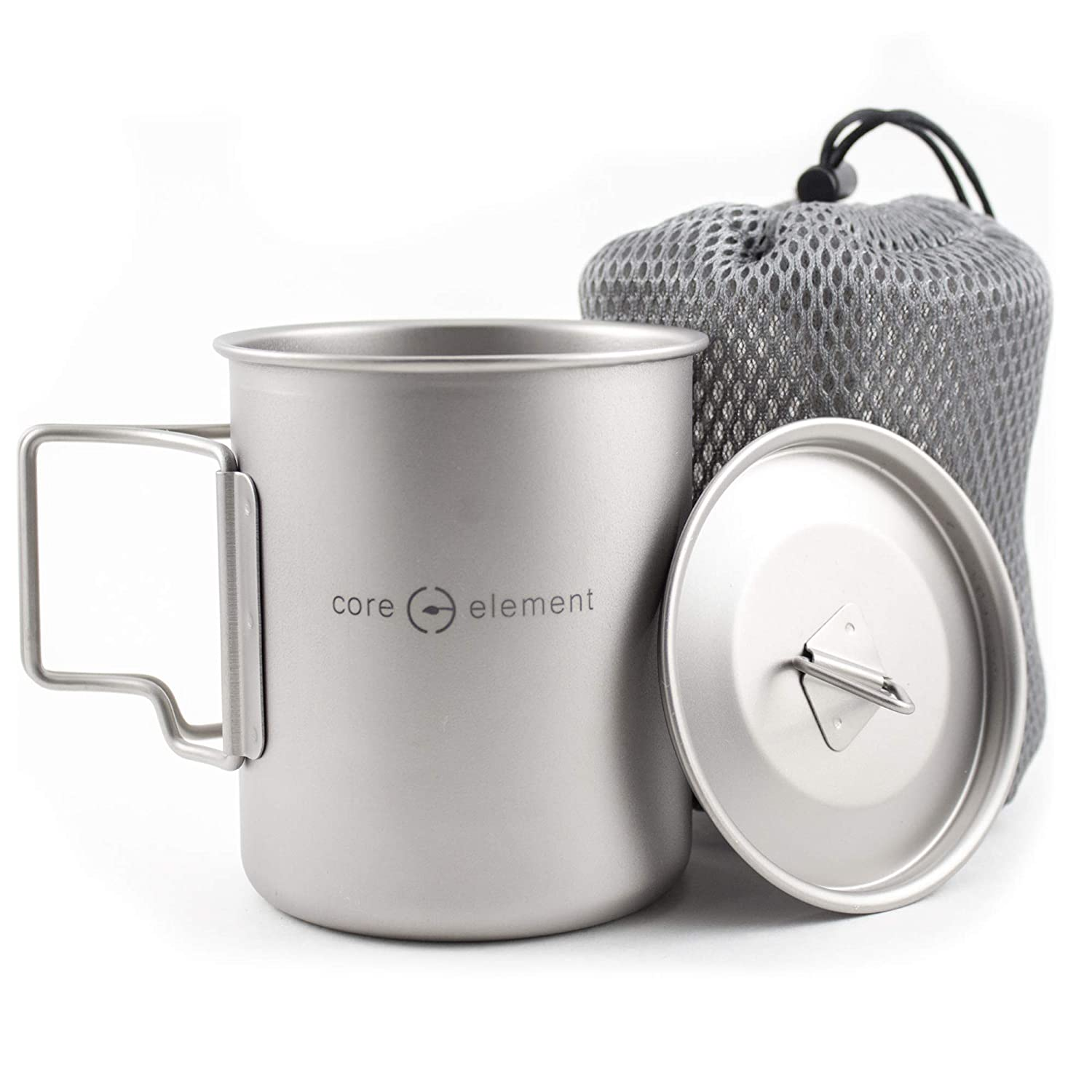 de5ae9f218c9 Amazon.com   Core Element 100% Titanium Outdoor Ultralight Portable Cooking  Pot Mug Open Campfire Cookware for Camping and Backpacking (450ml)   Sports    ...