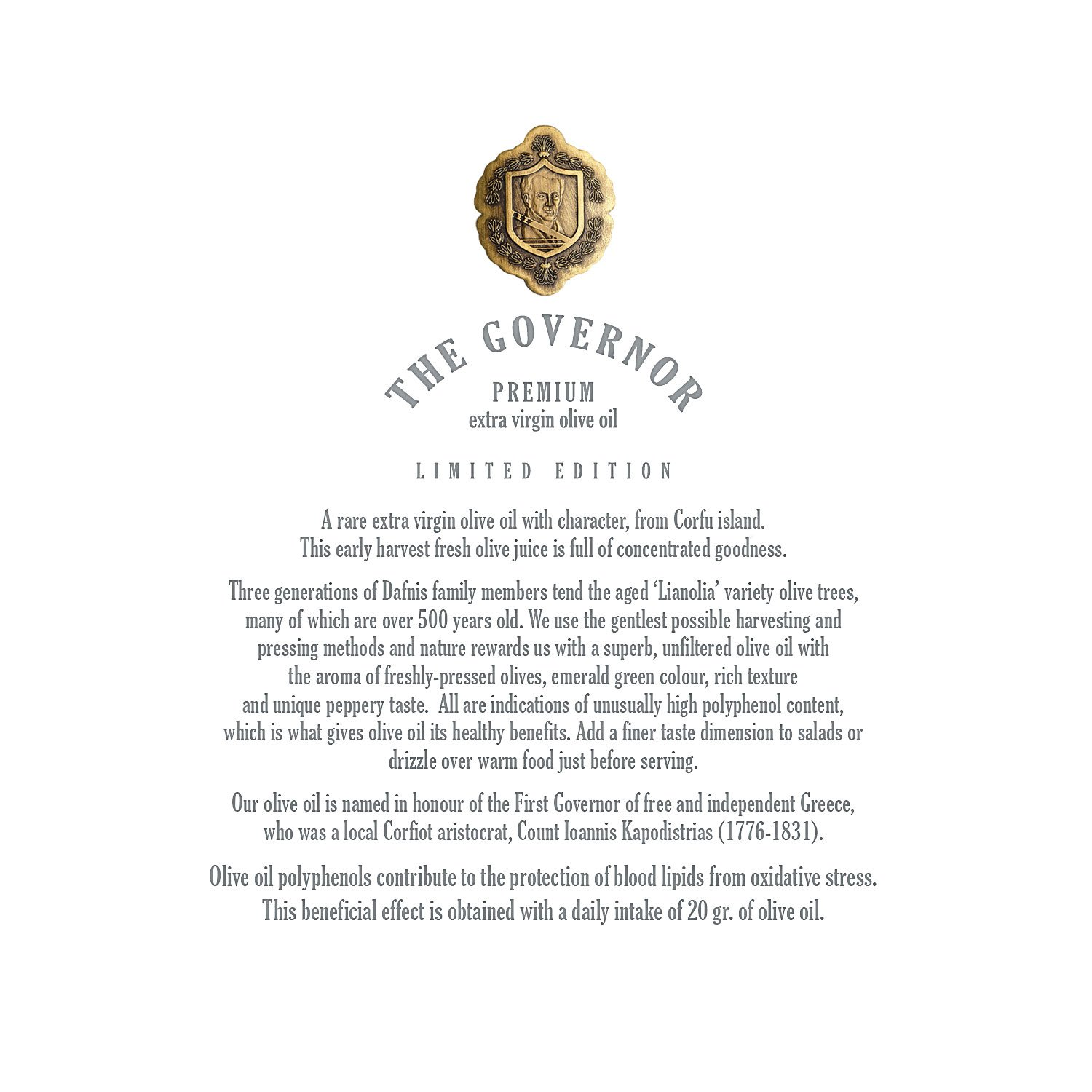 The Governor, Ultra Premium Unfiltered Extra Virgin Olive Oil | Olive Oil Polyphenols with Robust Health-Giving Properties | Cold-Pressed Olive Oil In a Limited Edition Luxury Glass Bottle | 500ml by The Governor (Image #8)