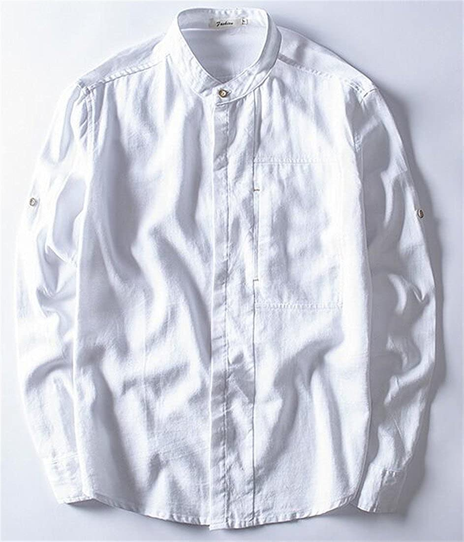 Sweatwater Men Slim Fit Button up Casual Solid Long Sleeve Linen Shirts