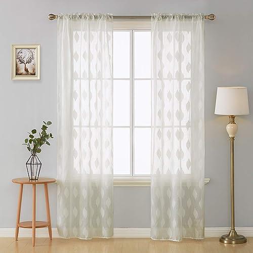 Deconovo Modern Jacquard Curtains Rod Pocket Drapes Lightweight Solid Sheer Panels