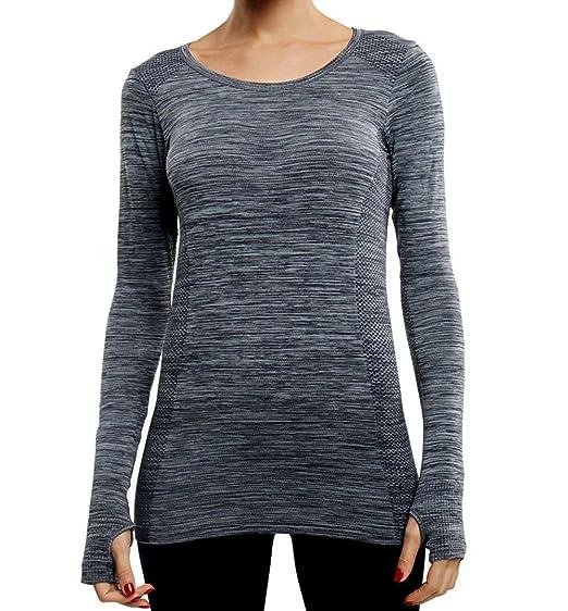 Franato Femmes Sport Chemise À Manches Longues Courir Top Yoga Sweat Pouce  Trou fd62a13af71
