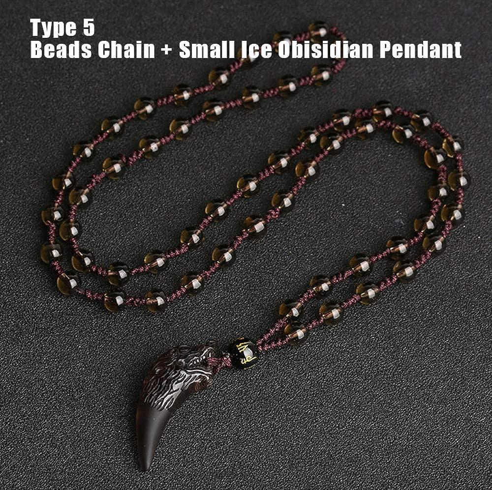 SHIZHEN Original Salvaje Lobo Dientes obsidiana Colgante Collar Amuleto Pareja Collar de Piedra Natural para Mujeres Hombres joyería de la Suerte-3