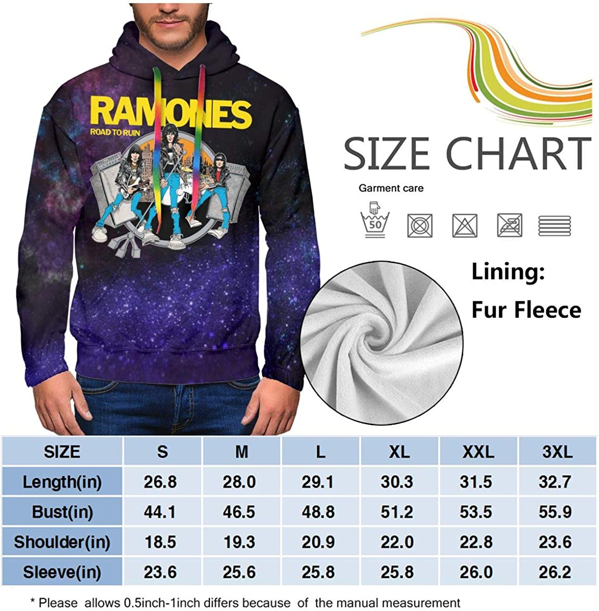 NathalieSalmeron Ramones Mens 3D Digital Printing Comfort Hoodies Sweatshirts