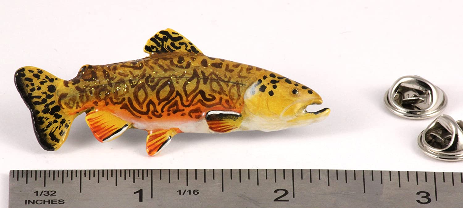 Jewelry Brooch Tiger Trout Fish Freshwater Fish Pewter Lapel Pin F022