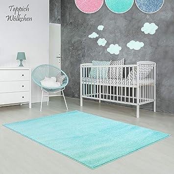 Kinder Zimmer Teppich im bunten Wolken Design oder Uni Farben | rund oder rechteckig | Ideal für Jungen, Mädchen oder im Baby Zimmer | Ökotex