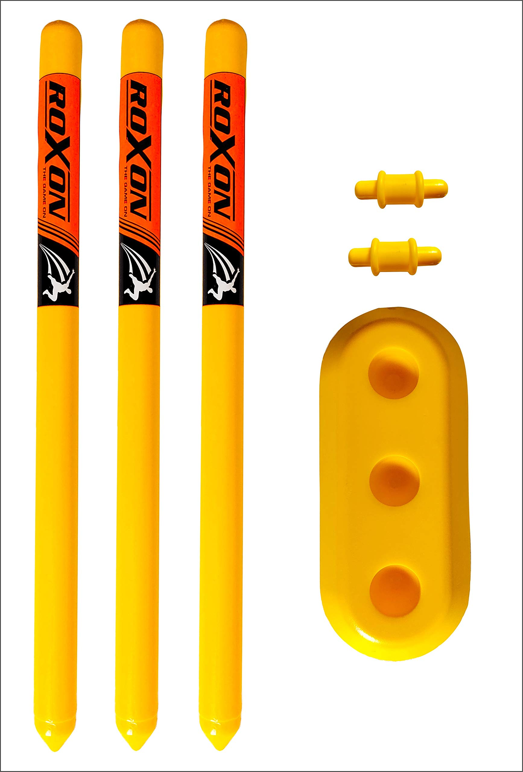 ROXON Hard Plastic Cricket Wickets Set(3 Piece Wickets, 2 Bails,1 Piece Base) (24'' Wickets Length for 3-8 Years Juniors