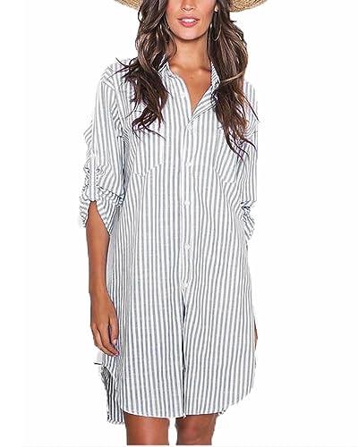 Auxo Vestidos Mujer Fiestas Camisetas Blusas Rayas Manga Larga Blancas Algodón Pullover Casual Camis...