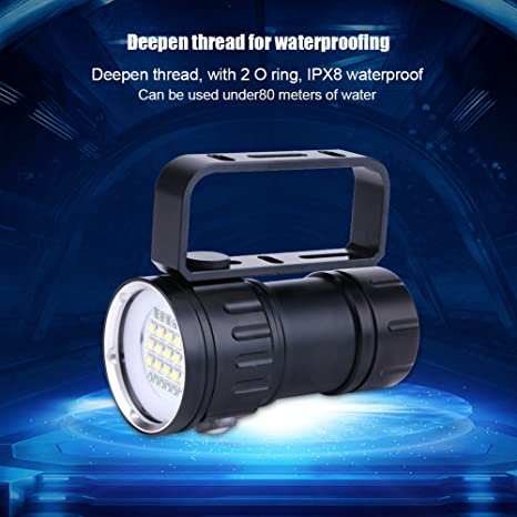 for Diving,B Underwater Lighting Distance 300-500M MSQL LED Waterproof Diving Flashlight Light//Underwater Video Camera Torch Lighting