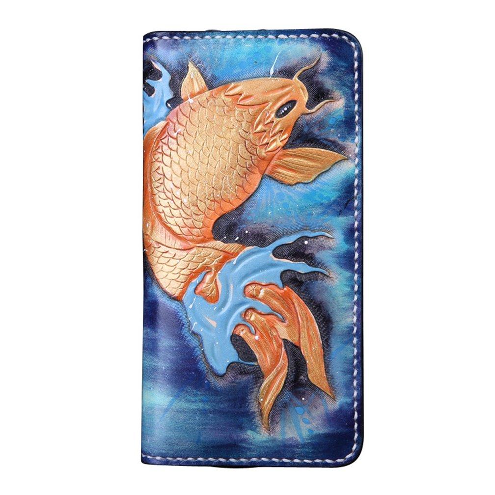 [龍紋鬼] 和柄財布 完全オリジナル手作り 牛革 レーザーウオレット 長財布 B01MZ7TANV 金魚2ファスナー 金魚2ファスナー