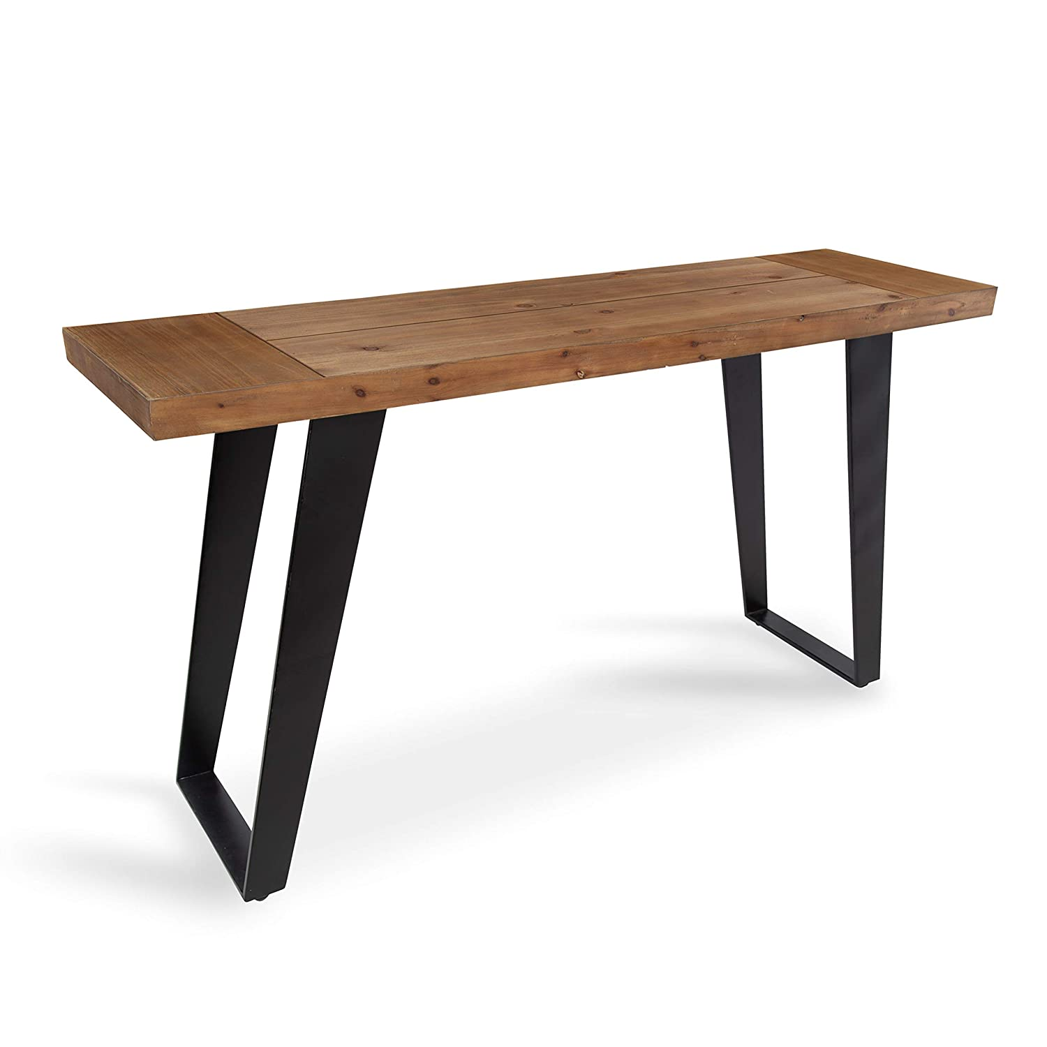 Kate and Laurel Lazlo Rustic Modern Console Table with Wooden Top and Black Metal Base