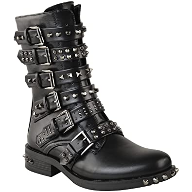Womens Studded Low Heel Buckle Strappy Flat Ankle Boots Shoes Size