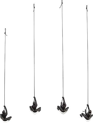 eladitems Climbing Man Choco Black Color Set of 4 Pieces Hanging Wall Piece of Art Solid