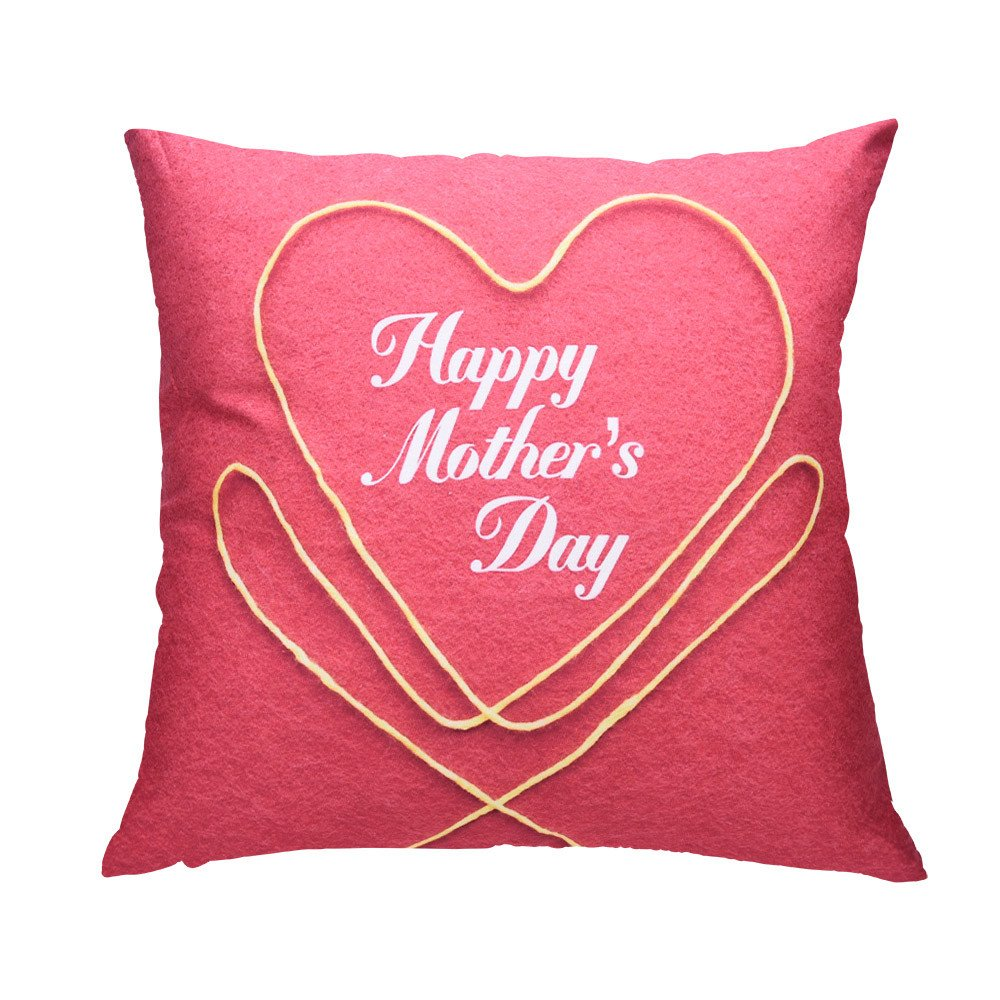 BINMUO Sofa Pillow Covers,Throw Pillow Covers,Cushion CoverHappy Mother's Day Print Pillow Case Polyester Sofa Car Cushion Cover Home Decor