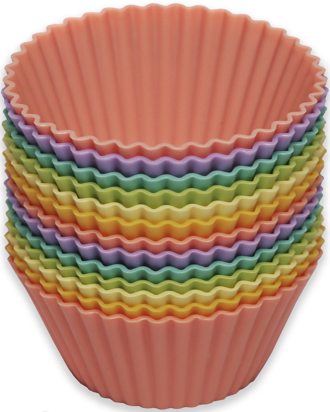 Silicone Baking Cups/13 Reusable Nonstick Cupcake Liners/Premium Muffin Molds - Stand Alone Cupcake Holders - No BPA - Gift Set - 6 Designer Colors - Standard Size by Chambers Bay Baking Company (Image #2)