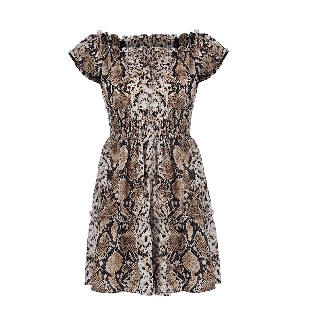 Tanlo Summer Women's Sexy Leopard Off-Shoulder Dress Boho High Resilience High Waist Mini Beach Dresses (Khaki, S)