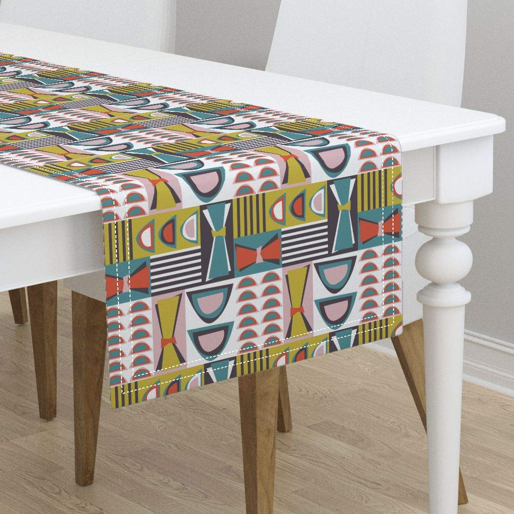 Table Runner - 60S Lounge Eames Chairs Colors Atomic 50S Modern Vessels Mid Century Modern by Ameemax - Cotton Sateen Table Runner 16 x 72