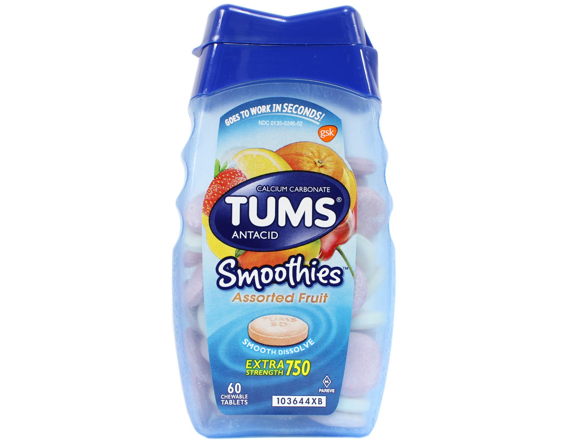 Tums Smoothies Assorted Tropical Fruit - 60 Chewable Tablets