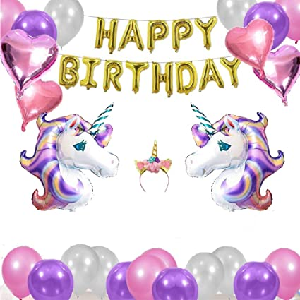 Amazon 26pcs Carton Unicorn Balloon Birthday Decor Kids Happy