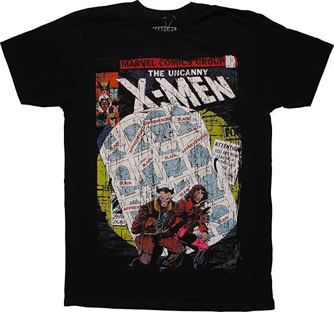 183a335a Amazon.com: X-Men Uncanny Cover Distressed Fitted T-Shirt: Clothing