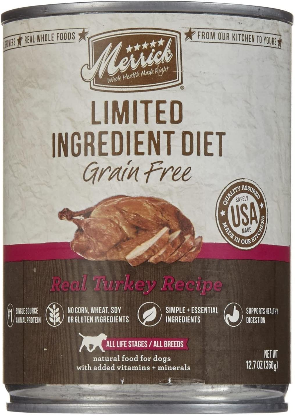 Merrick Limited Ingredient Diet – Real Turkey Recipe – 12.7 Oz – 12 Ct