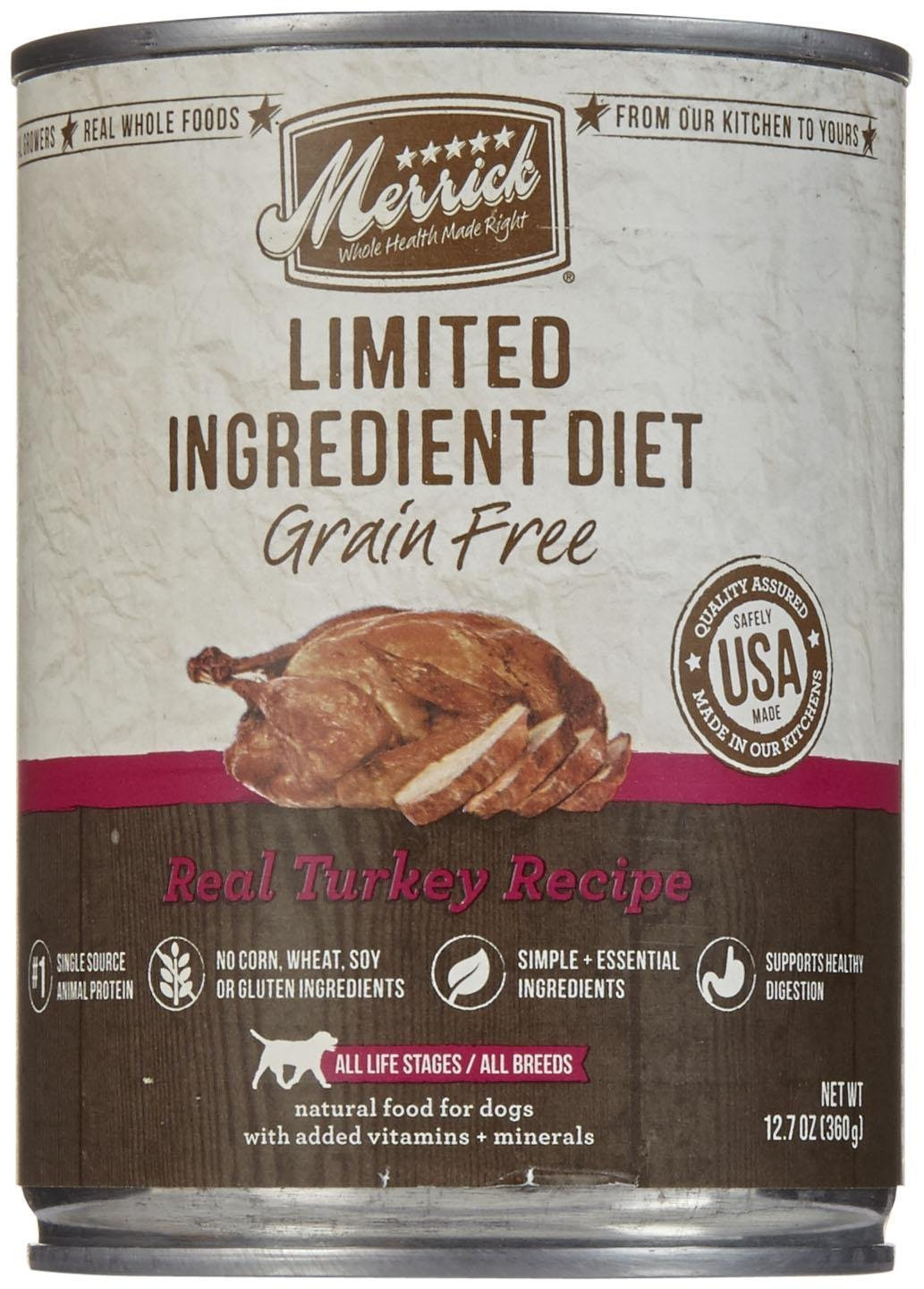 Merrick Limited Ingredient Diet – Real Turkey Recipe – 12.7 Oz – 12 Ct