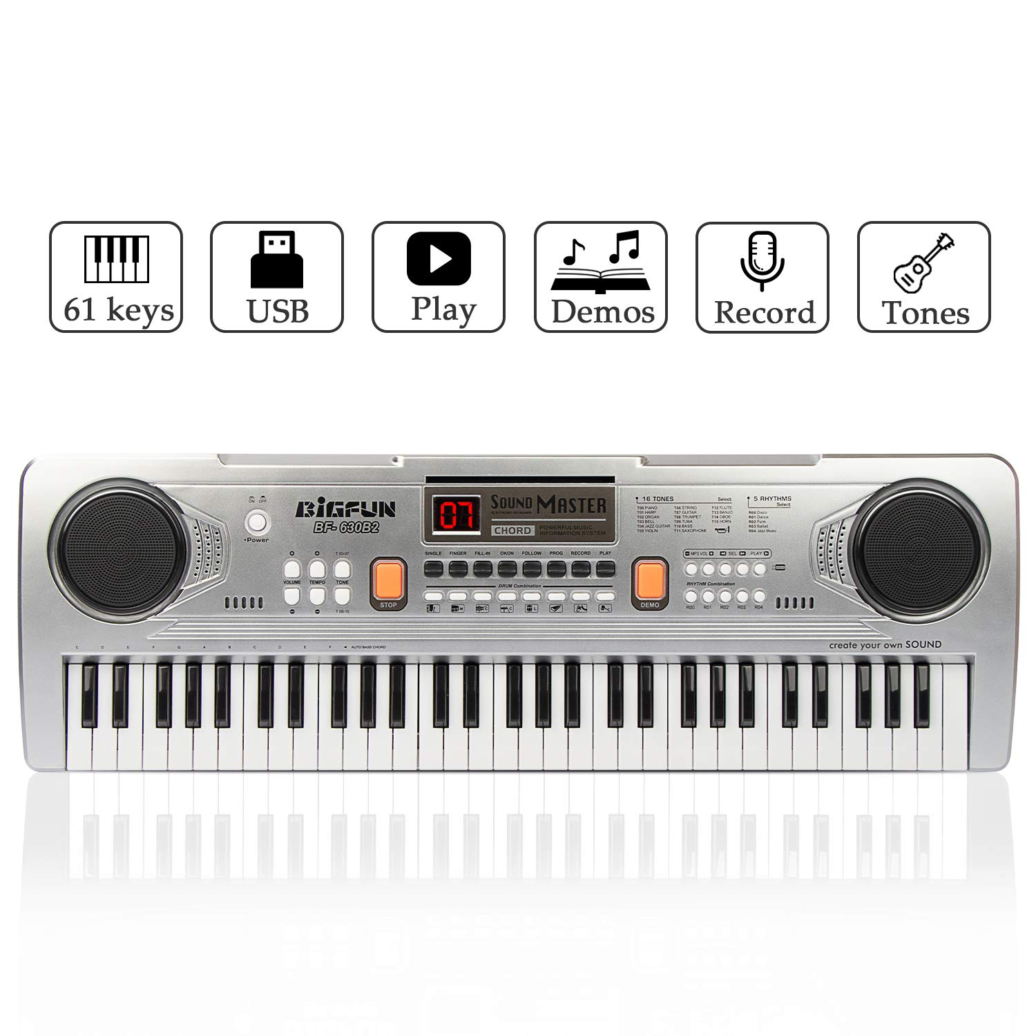 JINRUCHE Digital Music Keyboard Piano, 61 Keys Kids Piano Portable Electronic Keyboard Musical Instrument Multifunction Early Learning Educational Toy (Silver)
