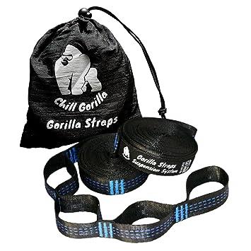 chill gorilla xl hammock tree hanging straps   bined 20 ft long 30 loops  amazon    chill gorilla xl hammock tree hanging straps   bined      rh   amazon