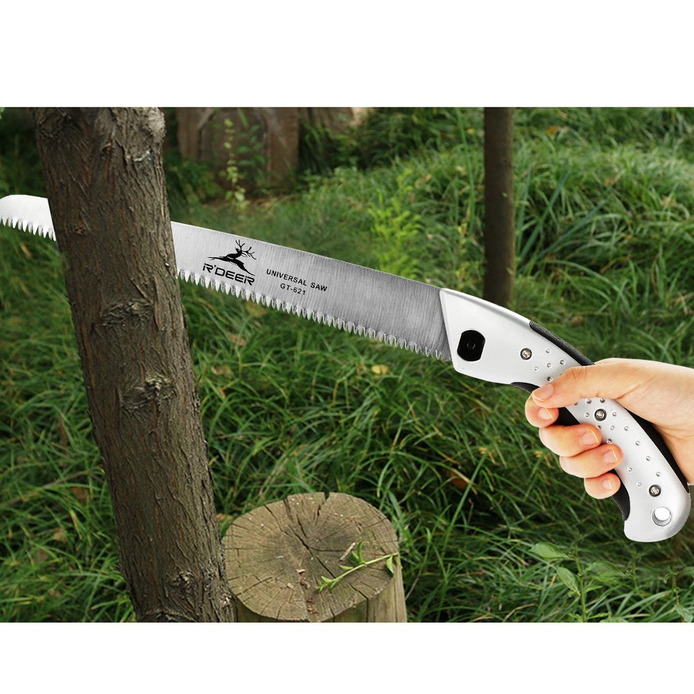 GLOGLOW Hand Saw Aluminum Handle Ultimate Sharp Teeth Blades Garden Pruning Saw with Sheath for Landscape Trimming Tree Branches Clearing Forest Trails Cutting Tool by GLOGLOW (Image #3)