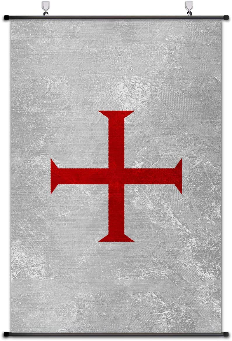 Nice Captain Medieval Coat of Arms Scroll Poster Middle Ages Banner Wall Art Home Decor 75x50cm (Knights Templar)