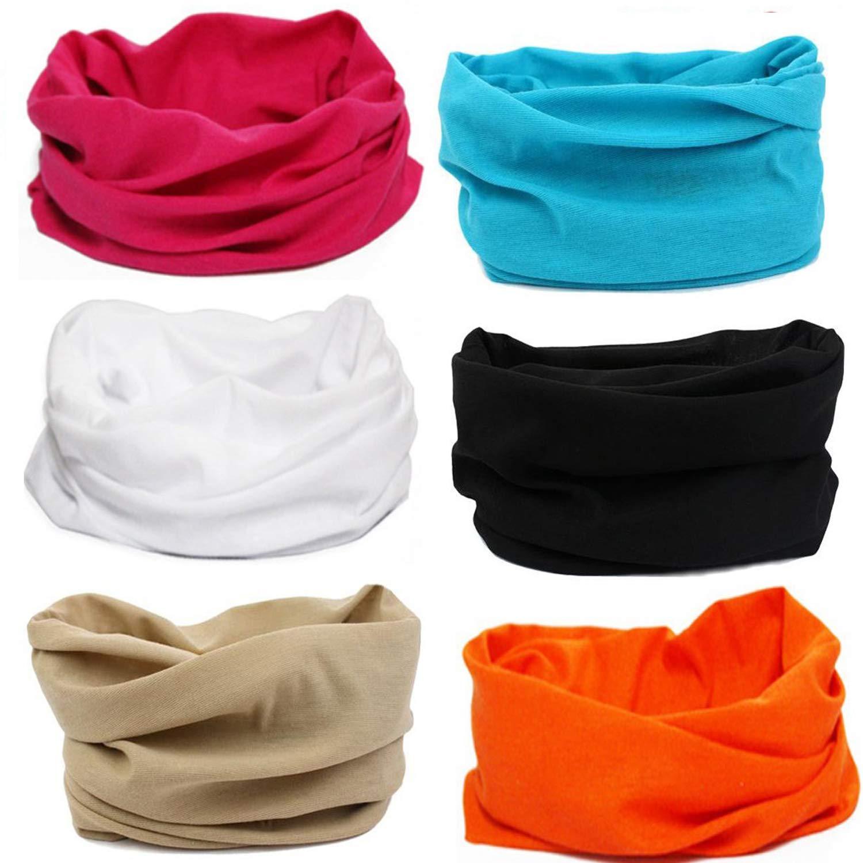 SmilerSmile 6pcs Assorted Seamless Outdoor Sport Bandanna Headwrap Scarf Wrap, 12 in 2 High Elastic Magic Headband & Collars Muffler Scarf Face Mask UV Resistance(45 Solid14)