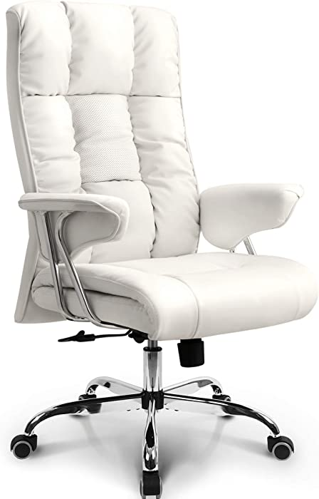 NEO CHAIR Office Chair Computer Desk Chair Gaming - Ergonomic High Back Cushion Lumbar Support with Wheels Comfortable White Upholstered Leather Racing Seat Adjustable Swivel Rolling Home Executive