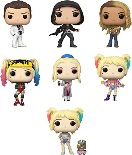 Amazon Com Funko Pop Bundle Of 7 Birds Of Prey Harley Quinn Caution Tape Quinn Black Mask Club Black Canary Huntress Roman Sionis Harley Roller Derby Harley W Beaver Toys Games